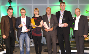 "Fressnapf kürte  die ""Supplier of the Year"": Klaus Meyer-Kortenbach (Fressnapf, Ressortleiter Category Management), Jörg Wasel (Fressnapf, Ressortleiter Private Label), Katrin Zimmermann (Fressnapf, Teamleiterin Private Label Food), Steven Sagrodnik (Vertriebsleiter Royal Canin), Patrick Köble (JRS), Michael Brackmann (Fressnapf, Geschäftsführer). (v.l.)"