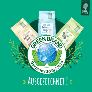 www.green-petfood.de  Green Petfood erhielt das  Green Brands Award Siegel.